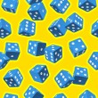 Vector dice seamless background. Blue on yellow. — Stock Vector