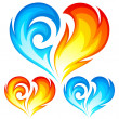 Fire and Ice vector heart. Symbol of love. — Vettoriale Stock