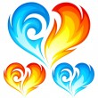 Fire and Ice vector heart. Symbol of love. — Vector de stock