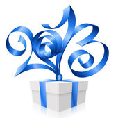 Vector blue ribbon in the shape of 2013 and gift box. Symbol of — Stockvektor
