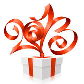 Vector red ribbon in the shape of 2013 and gift box. Symbol of N — Stock Vector