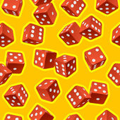 Vector dice seamless background. Red on yellow — Stock Vector