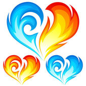 Fire and Ice vector heart. Symbol of love. — Stock Vector