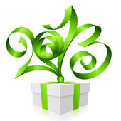 Vector green ribbon in the shape of 2013 and gift box. — Stock Vector