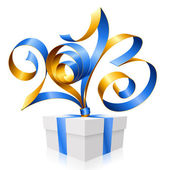 Vector blue ribbon in the shape of 2013 and gift box. Symbol of — Vetorial Stock