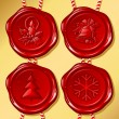 Set of Christmas sealing wax — Image vectorielle