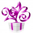 Vector purple ribbon in the shape of 2013 and gift box. Symbol o — Stock Vector
