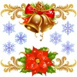 Golden bells, poinsettia and snowflake — Stock vektor