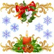 Stock Vector: Mistletoe, candle and snowflake