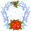 Christmas and New Year greeting card 5. Red Flower and holly — Stock Vector #15717987