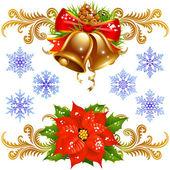 Golden bells, poinsettia and snowflake — Stock Vector