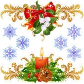Mistletoe, candle and snowflake — Stock Vector