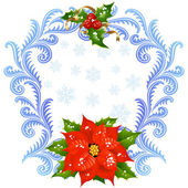 Christmas and New Year greeting card 5. Red Flower and holly — Stock Vector