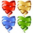 Set of vector Ribbon banner in the shape of heart — Stock Vector