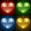 Disco Heart set. Vector mirror disco ball in the shape of heart — Stock Vector