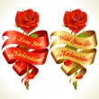 Ribbon banners in the shape of heart and red rose - Stock Vector