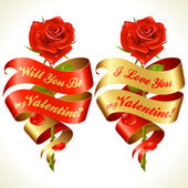 Ribbon banners in the shape of heart and red rose — Stock Vector