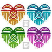 Vector Indian pattern in the shape of heart — Vector de stock