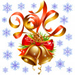 Vector Christmas and New Year 2014 decoration set, red ribbon, golden bell, snowflake — Vector de stock  #35743129