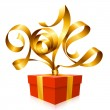 Vector golden ribbon in the shape of 2014 and gift box. Symbol of New Year — Imagen vectorial