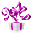 Vector purple ribbon in the shape of 2014 and gift box. Symbol of New Year — Vector de stock
