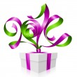 Vector purple ribbon in the shape of 2014 and gift box. Symbol of New Year — Stock Vector