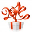 Vector red ribbon in the shape of 2014 and gift box. Symbol of New Year — Stock Vector #35743247