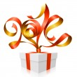 Vector red ribbon in the shape of 2014 and gift box. Symbol of New Year — Vector de stock