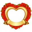 Stock Vector: Vector frame in the shape of heart with red roses and golden ribbon.