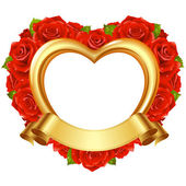 Vector frame in the shape of heart with red roses and golden ribbon. — Stock Vector