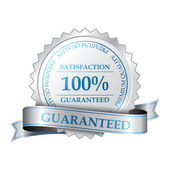 Premium quality and customer 100 percent satisfaction guarantee label — Stock Vector