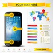 Modern smartphone with infographics elements. — Stock Vector