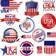 Made in the USA. Set of vector graphic icons and labels — Stock Vector