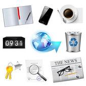 Set di icone di affari e ufficio. — Vettoriale Stock