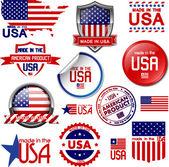Made in usa. conjunto de iconos gráficos vectoriales y las etiquetas — Vector de stock
