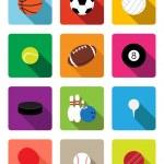 Sport balls flat icons — Stock Vector