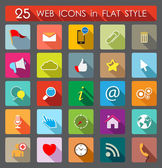 25 Web Icons. Flat Style — Stock Vector