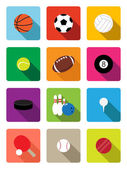 Sport balls flat icons — Stock Vector
