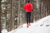 Winter trail running — Stock Photo