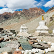 Tibetan stupas and mani stones - Stock Photo