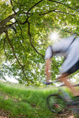 Cyclist in blurred motion riding a bike in a forest — Stock Photo