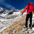 Hiker observing a high mountain panorama — Stockfoto