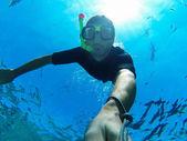 Freediver: underwater selfie — Stock Photo