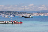 Cannes: view from Lerins Island. Small and large yachts anchored — Stock Photo
