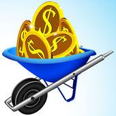Wheelbarrow and money — Stock Vector