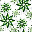 Stock Vector: Green graphic flowers pattern