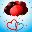 Balloons and hearts card - Stock Vector