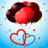 Balónky a srdce karta — Stock vektor