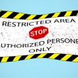 Restricted area hanged banner — Stock Vector