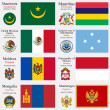 World flags and capitals set 15 — Stock vektor